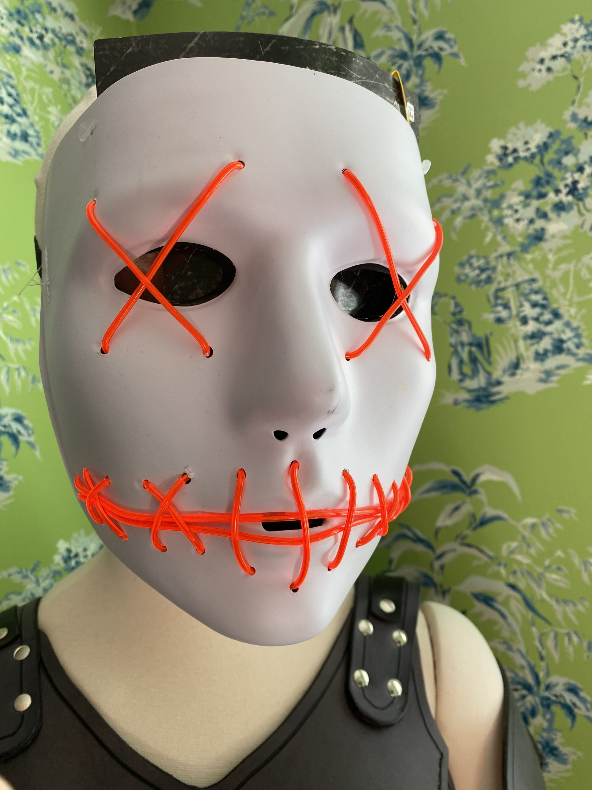 Red and White light up wire mask