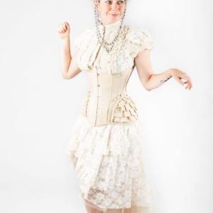 Victorian / Rococo Cream-colored corset, top and skirt combo