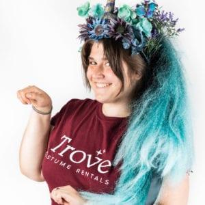 unicorn floral headdress with teal mane