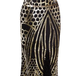 Black and Gold 1920s Long Flapper Dress