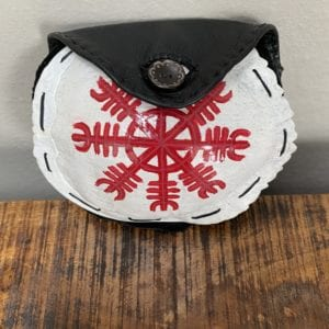 Turtle shell pouch with Viking design