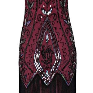 Black and Red 1920s Flapper Cocktail Dress