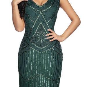 Emerald Green 1920s Flapper Cocktail Dress