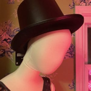 Faux black leather top hat
