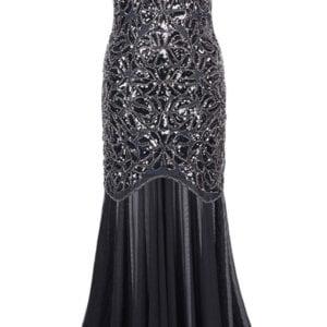 Black 1920s Long Flapper Dress