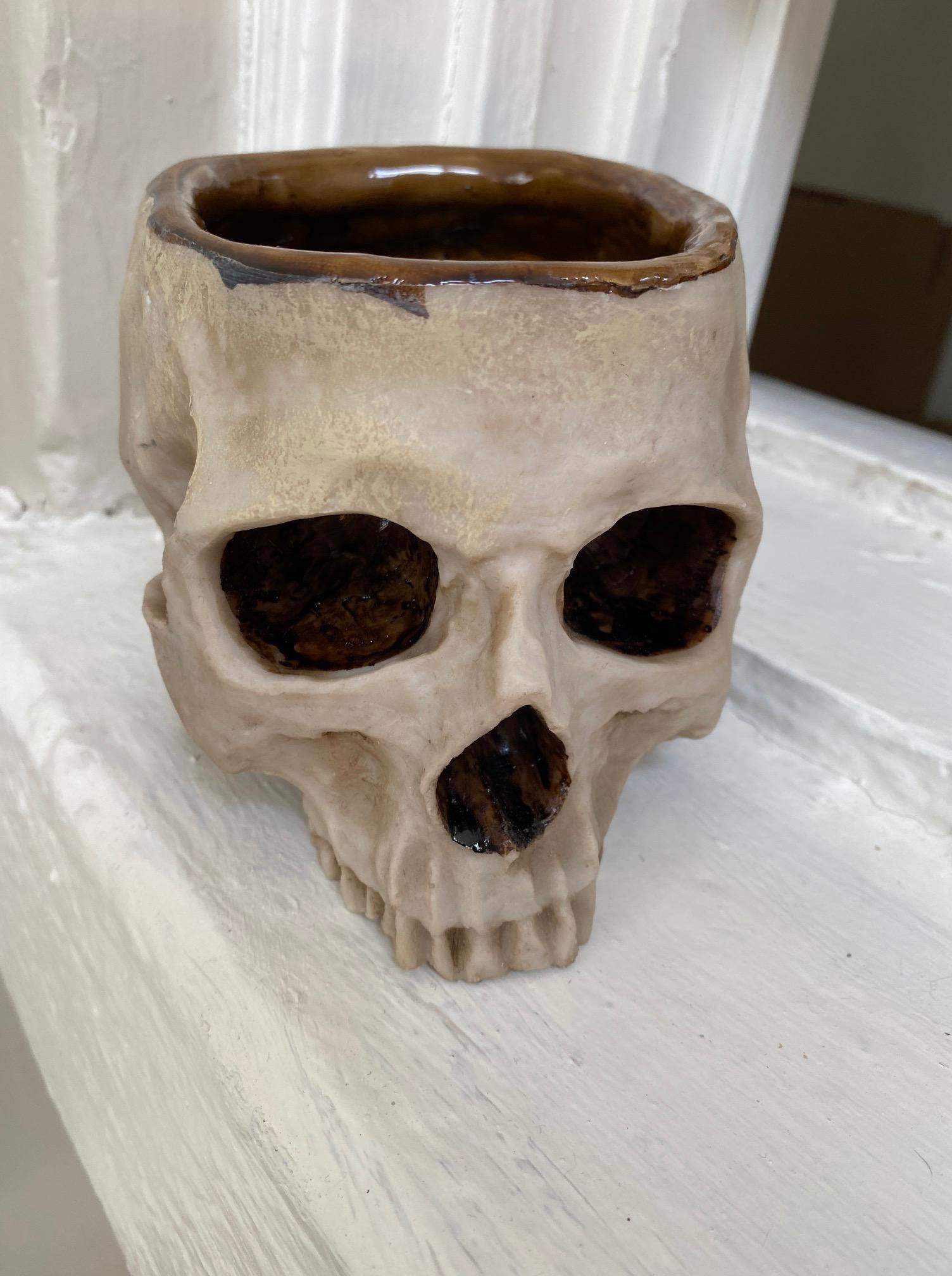 Drinking Skull and Leather Frog  belt holder