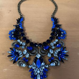Blue Statement Bib Necklace