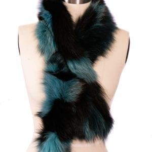 black and blue faux fur stole