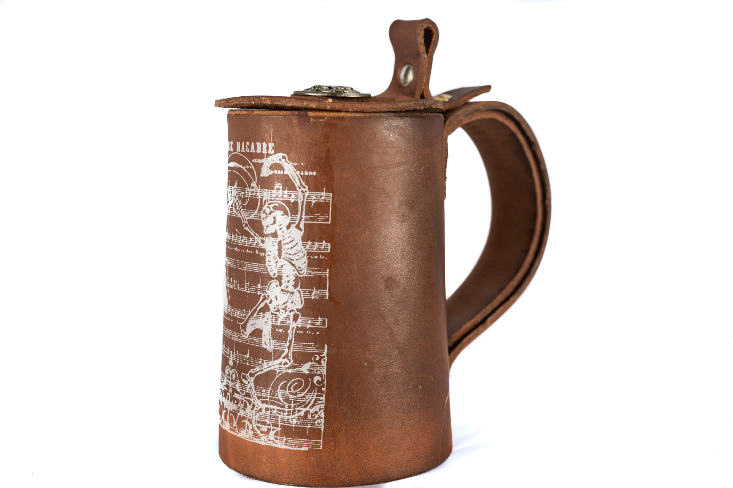 Leather Danse Macabre flagon mug with attached lid