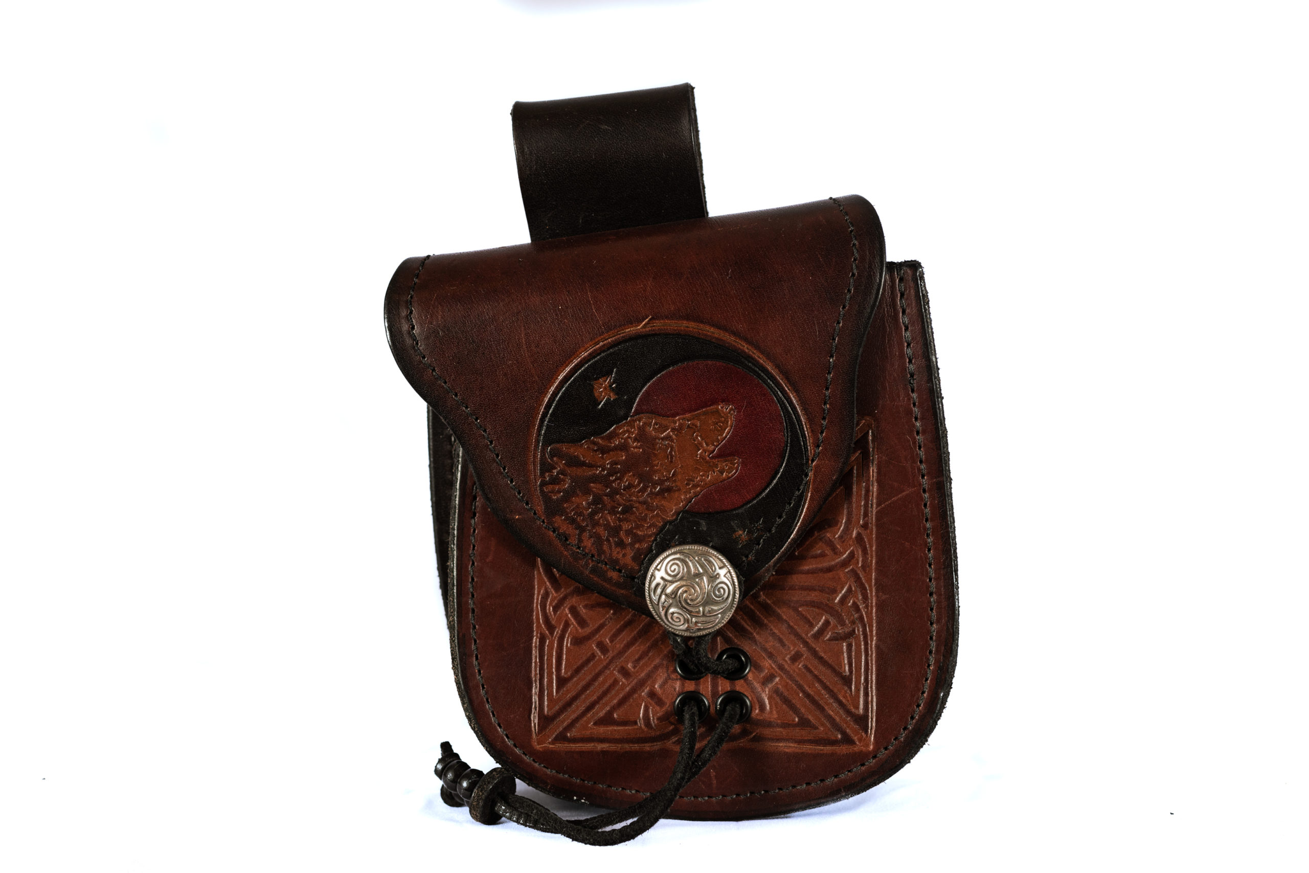 brown leather wolf pouch