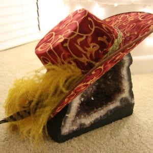 Plumed Fedora ; Red Feathered Hat